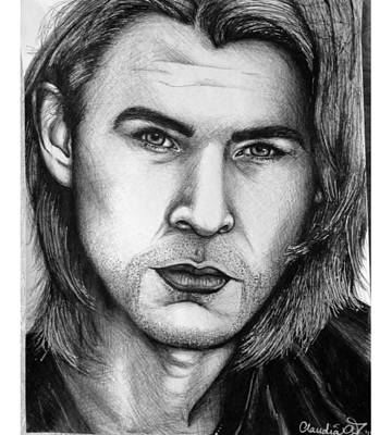 Thor Drawing - Chris Hemsworth by Claudia Gonzalez