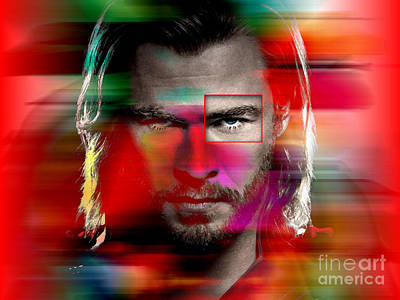 Screen-print Mixed Media - Chris Hemsworth Painting by Marvin Blaine