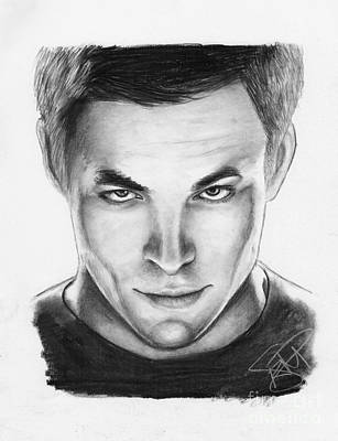Captain Kirk Drawing - Chris Pine by Rosalinda Markle