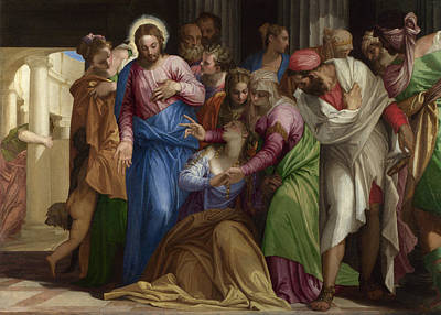 Christ Addressing A Kneeling Woman Art Print by Paolo Veronese