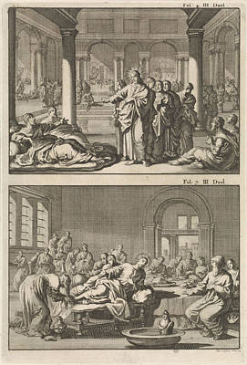 Tear Drawing - Christ And His Disciples At The Bathhouse Of Siloam by Jan Luyken And Willem Broedelet
