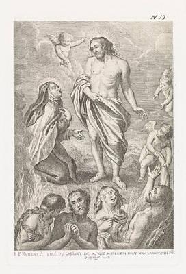St Joseph Drawing - Christ And St. Teresa, Philippe Lambert Joseph Spruyt by Philippe Lambert Joseph Spruyt