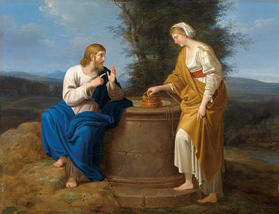 Woman At The Well Painting - Christ And The Good Samaritan At The Well by Ferdinand Georg Waldmueller
