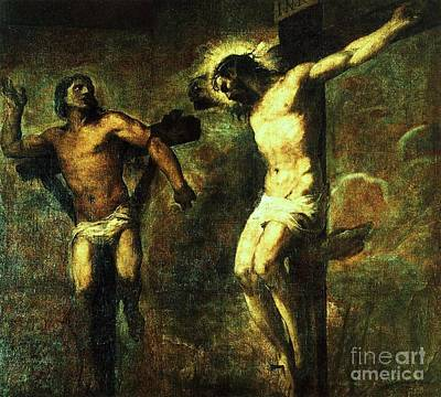 Thief Painting - Christ And The Good Thief by Pg Reproductions