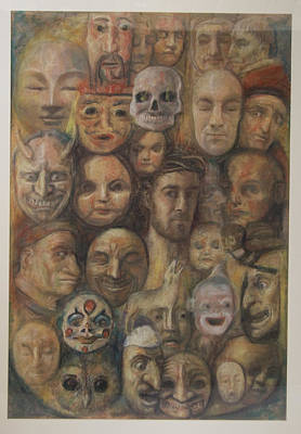 Christ And The Masks Art Print by Paez  Antonio
