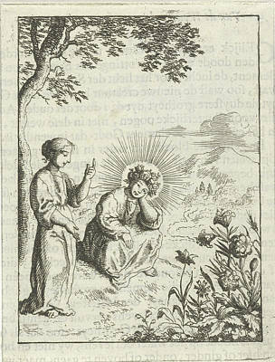 Vegetation Drawing - Christ And The Personified Soul Contemplate Nature by Jan Luyken And Pieter Arentsz (ii)