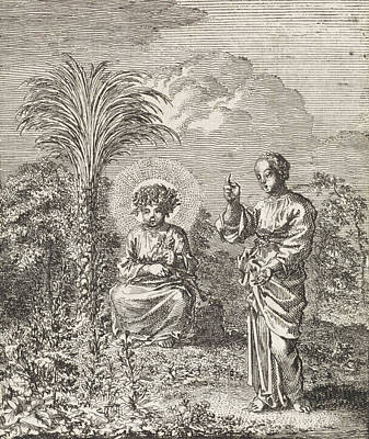 Vegetation Drawing - Christ And The Personified Soul Contemplate Nature by Jan Luyken