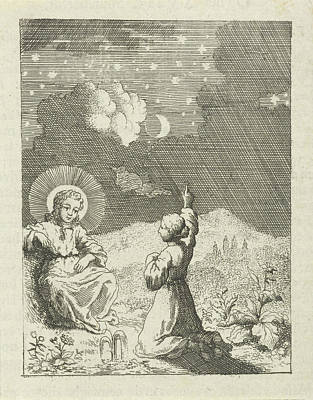 Contemplate Drawing - Christ And The Personified Soul Contemplate The Starry Sky by Jan Luyken And Pieter Arentsz Ii