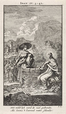 Christ And The Samaritan Woman At The Well Print by Jan Luyken And Wed. Pieter Arentsz & Cornelis Van Der Sys Ii