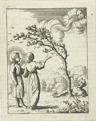 Storm Drawing - Christ And The Soul Personified In A Storm by Jan Luyken And Pieter Arentsz (ii)