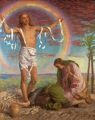 Religious Artist Painting - Christ And The Two Marys by William Holman Hunt