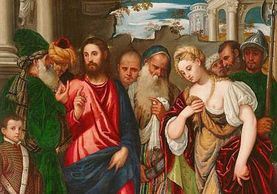 Christ And The Woman Taken In Adultery Print by Veronese