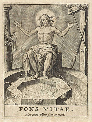 Shed Drawing - Christ As The Fountain Of Life Fons Vitae by Hieronymus Wierix