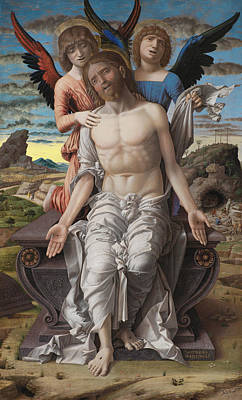 Christ The Redeemer Painting - Christ As The Suffering Redeeme4 by Andrea Mantegna