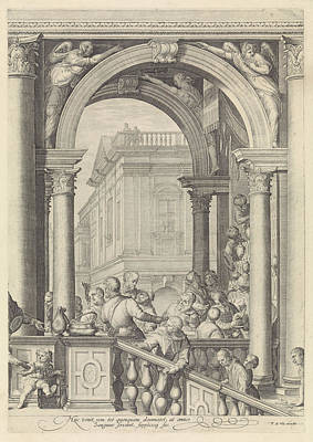 Staircase Painting - Christ At A Meal In The House Of Levi The Publican Plate 3 by Jan Saenredam And Paolo Veronese And Frederik De Wit