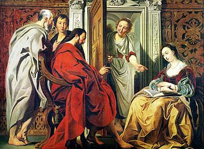 Contemplative Photograph - Christ At The House Of Martha And Mary Of Bethany Oil On Canvas by Jacob Jordaens