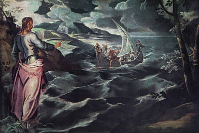 Jesus Boat Painting - Christ At The Sea Of Galilee 1575 1580 by Vintage Images
