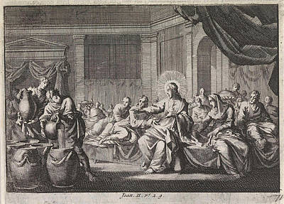 Water Jars Drawing - Christ At The Wedding At Cana, Israel, Jan Luyken by Jan Luyken And Pieter Mortier