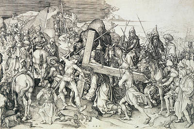 Suffering Drawing - Christ Bearing His Cross by Martin Schongauer