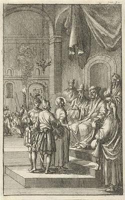 Matthew 26 Drawing - Christ Before Caiaphas, Jan Luyken, Aart Dircksz Oossaan by Jan Luyken And Aart Dircksz Oossaan