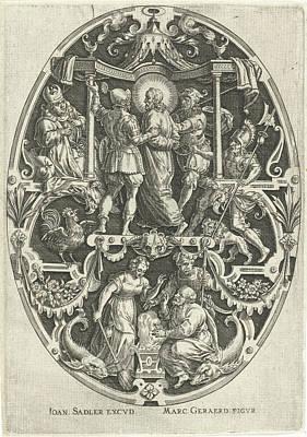 Matthew 26 Drawing - Christ Before Caiaphas, Johann Sadeler by Johann Sadeler (i)
