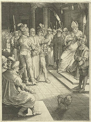 Matthew 26 Drawing - Christ Before Caiaphas, Nicolaes De Bruyn by Nicolaes De Bruyn