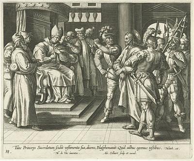 Matthew 26 Drawing - Christ Before Caiaphas, Print Maker Adriaen Collaert by Adriaen Collaert And Maerten De Vos