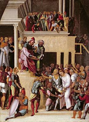 Trial Painting - Christ Before Pilate, C.1530 by Lodovico Mazzolino