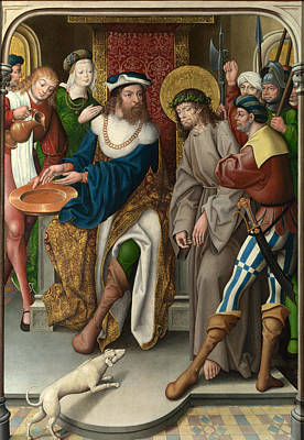 Christ Before Pilate Painting - Christ Before Pilate by Master of Cappenberg