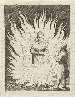 Holy Ghost Drawing - Christ Beholds The Personified Soul Surrounded By Flames by Jan Luyken And Pieter Arentsz Ii