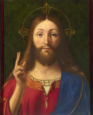 Religious Artist Painting - Christ Blessing by Andrea Previtali