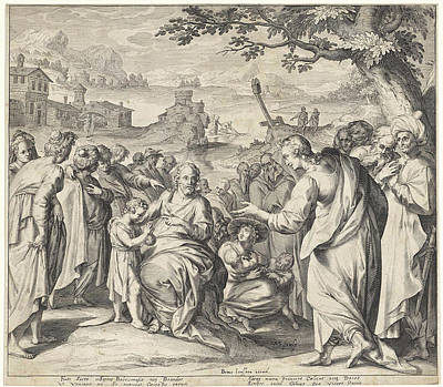 Blessings Drawing - Christ Blessing The Children by Claes Jansz. Visscher Willem Isaacsz. Van Swanenburg (ii)
