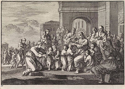 Blessings Drawing - Christ Blessing The Children, Jan Luyken by Jan Luyken And Pieter Mortier