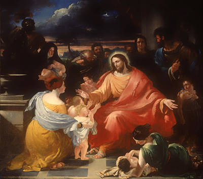 Christian Artwork Painting - Christ Blessing The Little Children by Mountain Dreams