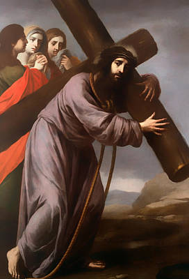 Christian Artwork Painting - Christ Carrying His Cross by Mountain Dreams