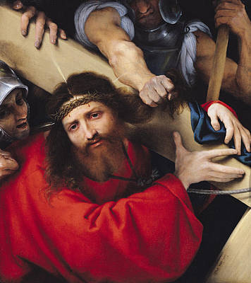 Torment Photograph - Christ Carrying The Cross, 1526 Oil On Canvas by Lorenzo Lotto