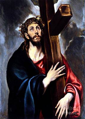 Painting - Christ Carrying The Cross by Annie Zeno