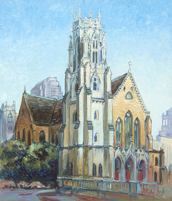 Downtown Painting - Christ Cathedral Church St.louis by Irek Szelag