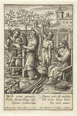 Fence Drawing - Christ Child Builds A Fence, Hieronymus Wierix by Hieronymus Wierix