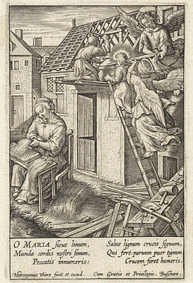 Christ Child Puts A Roof, Hieronymus Wierix Art Print by Hieronymus Wierix