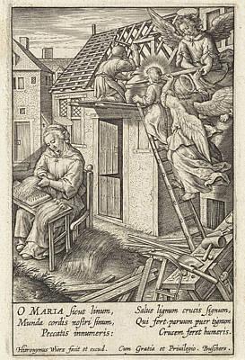 Christ Child Puts A Roof, Hieronymus Wierix Print by Hieronymus Wierix