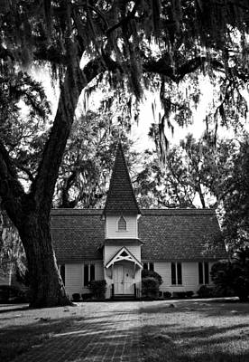 Old Christ Church Photograph - Christ Church Frederica In Black And White by Greg and Chrystal Mimbs