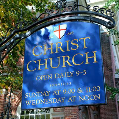 Christ Church Sign Art Print by Stephen Stookey