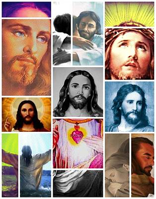 Painting - Christ Collage In Halftone by Jared Johnson