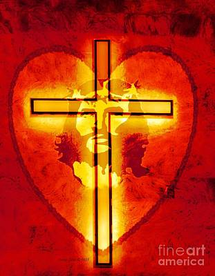 Digital Art - Jesus Christ His Heart And The Cross by Annie Zeno