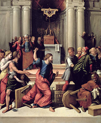 Menorah Photograph - Christ Driving The Money-changers From The Temple Panel by Benvenuto Tisi da Garofalo