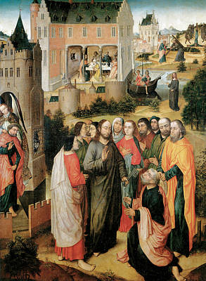 Christ Handing The Keys To St Peter Art Print by Master of the Legend of the Holy Prior