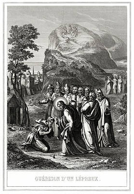 Christ Healing A Leper Art Print by National Library Of Medicine