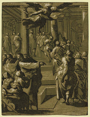 Healing Art Drawing - Christ Healing The Paralytic Man by Vicentino, Giuseppe Niccol?, Called Rospigliosi (born C. 1510), Italian
