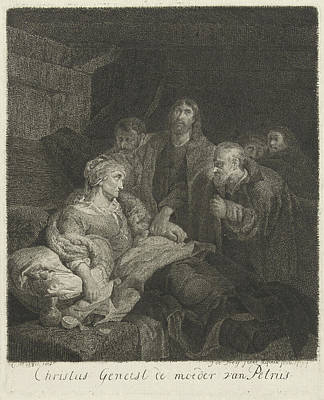 Frey Drawing - Christ Heals The Mother Of Peter, Johannes Pieter De Frey by Johannes Pieter De Frey